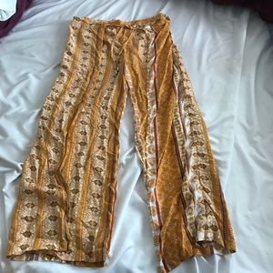 Yellow Flared Patterned Pants
